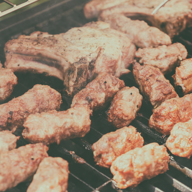 """""""Traditional Romanian Barbecue With Pork Meat Rolls (Mici Or Mititei)"""" stock image"""