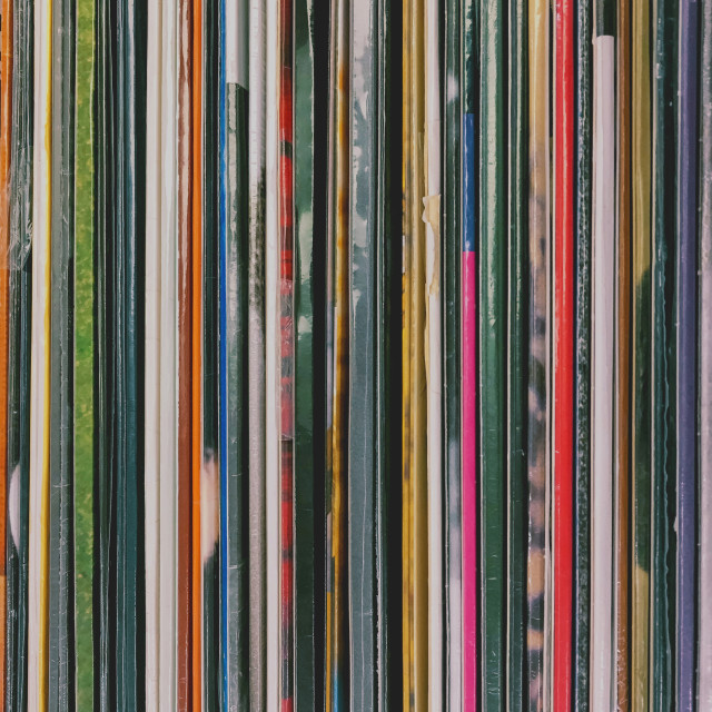 """Top View Of Old Vinyl Record Cases"" stock image"