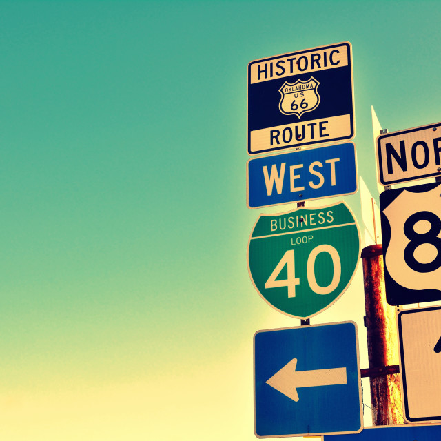 """Route 66 road signs on Oklahoma."" stock image"