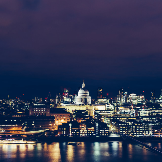 """Aerial view of London cityscape skyline at night with St Paul's"" stock image"
