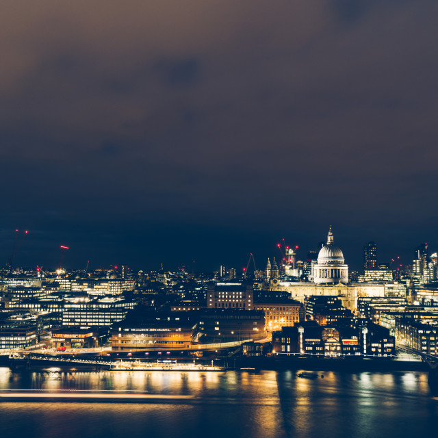 """Elevated aerial view of modern London cityscape skyline at night"" stock image"