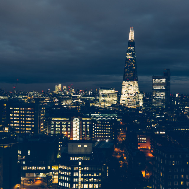 """Aerial view of London skyline at night with shard building"" stock image"