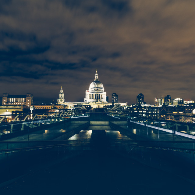 """London exposure of London skyline with Millennium Bridge and St"" stock image"