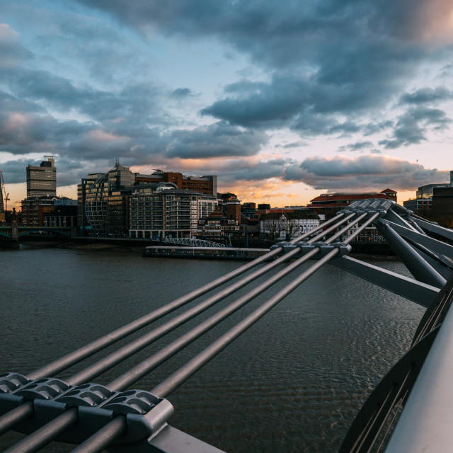 """Modern London skyline on River Thames with Millennium Bridge and"" stock image"