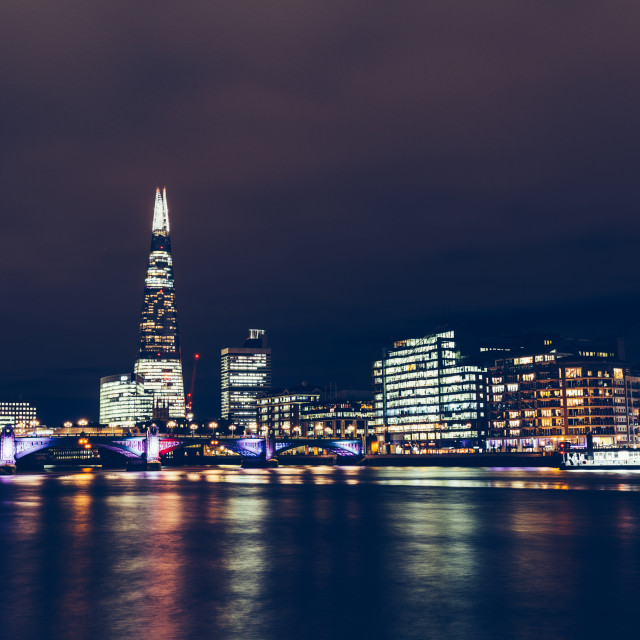 """Long exposure shot of modern London cityscape skyline with shard"" stock image"