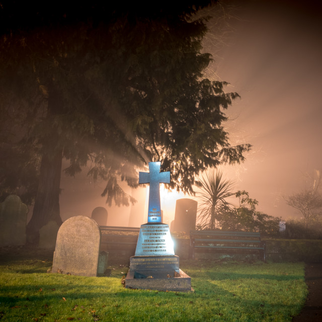 """Misty Churchyard"" stock image"