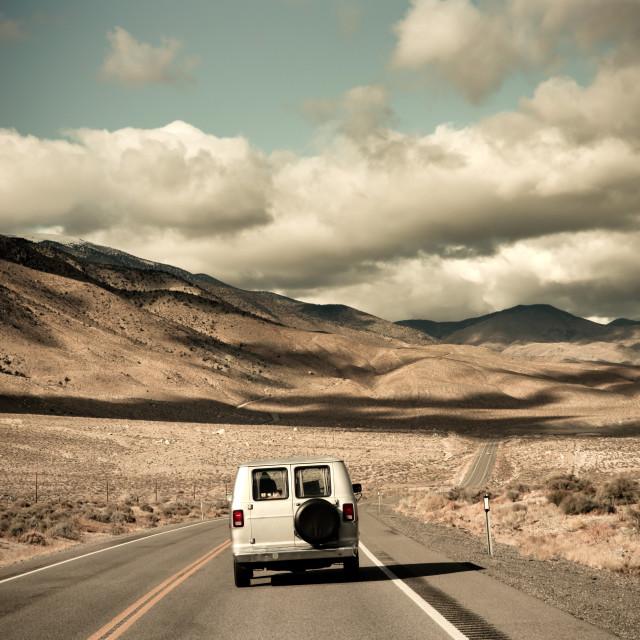 """""""Van on an open Road"""" stock image"""