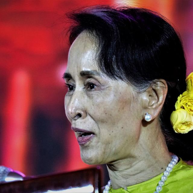 """""""Aung San Suu Kyi of Myanmar"""" stock image"""