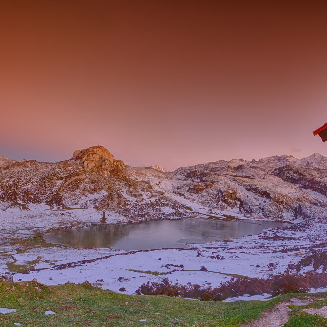 """Panoramic view of Lake Ercina with snow in Asturias."" stock image"