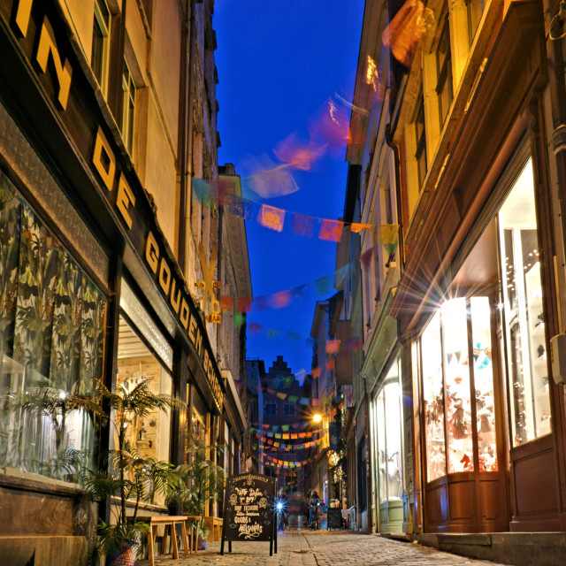 """Gent shopping street at dusk"" stock image"