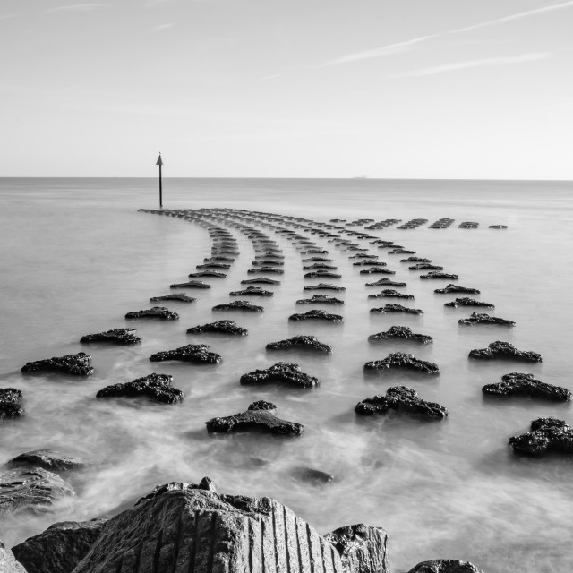 """Sea defences at Felixstowe"" stock image"