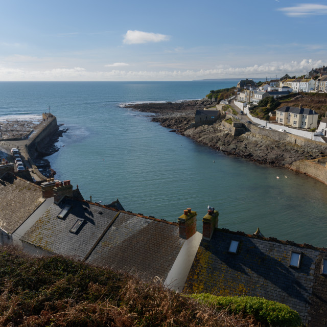 """Porthleven harbour entrance"" stock image"