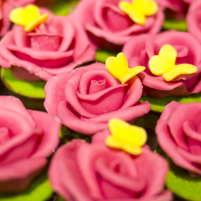 """""""Pink roses hand made from sweets. Macro"""" stock image"""