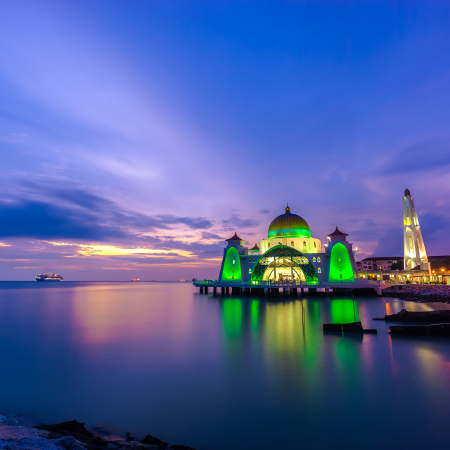 """Twilight of Masjid Selat"" stock image"