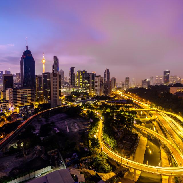 """""""Twilight view of Kuala Lumpur city"""" stock image"""