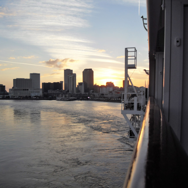 """New Orleans at Dusk from the Mississppi"" stock image"