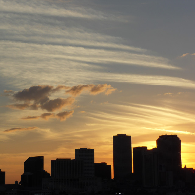 """New Orleans skyline at dusk"" stock image"