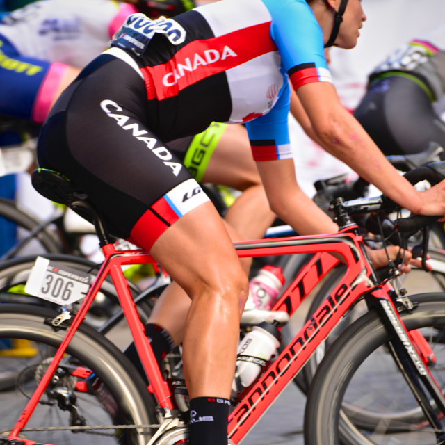 """""""Vancouver Global Relay sponsored Gastown Grand Prix women's bicycle race"""" stock image"""