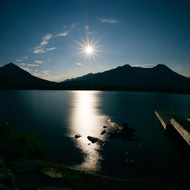 """Vermillion Lakes Full Moon"" stock image"
