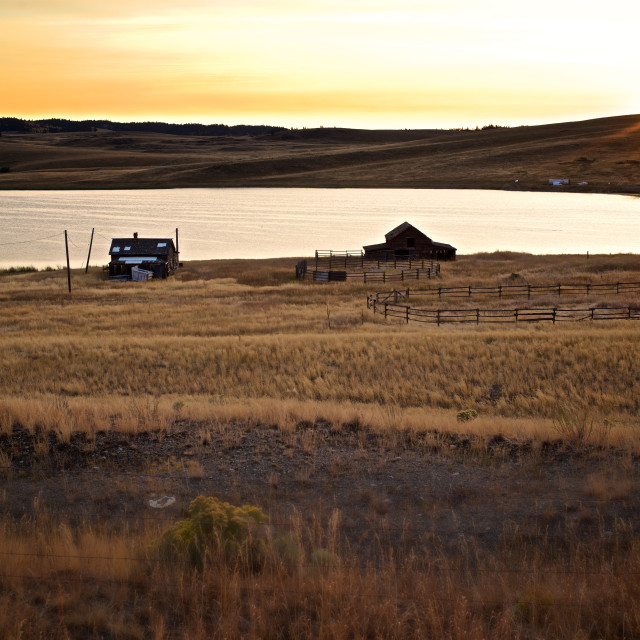 """Farmhouse Sunrise"" stock image"