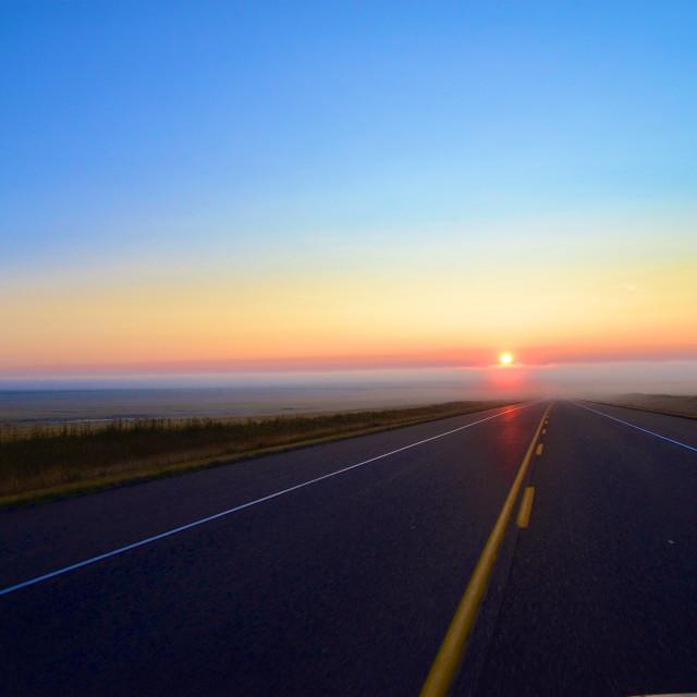"""""""Foggy Highway Sunrise"""" stock image"""