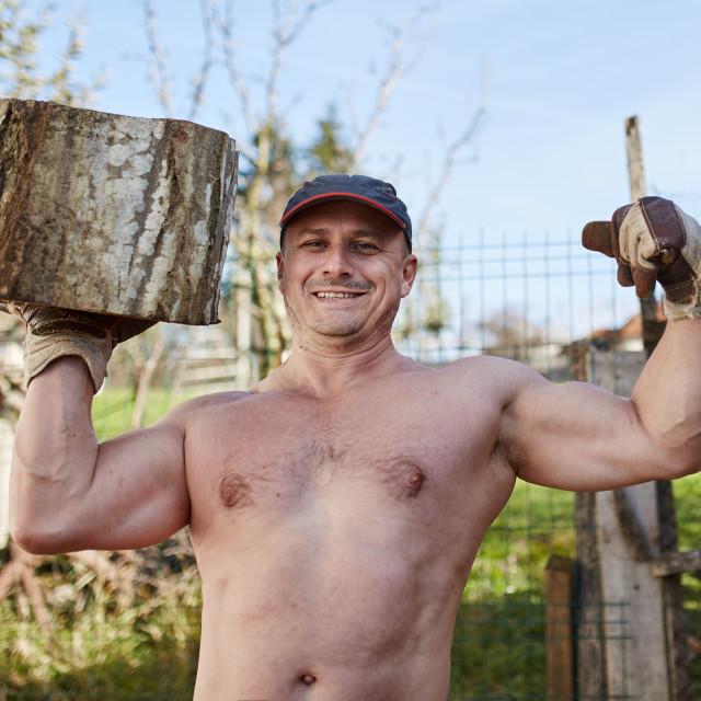 """Strong lumberjack holding a big log"" stock image"