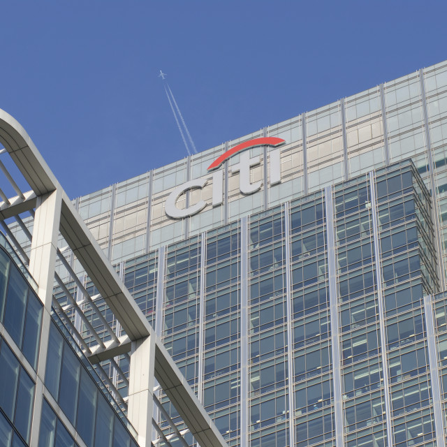 """""""London UK Canary Wharf Business district Citibank offices."""" stock image"""