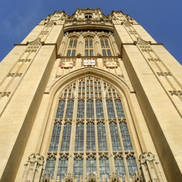"""Bristol UK Wills Memorial Building Tower, part of the University of Bristol."" stock image"