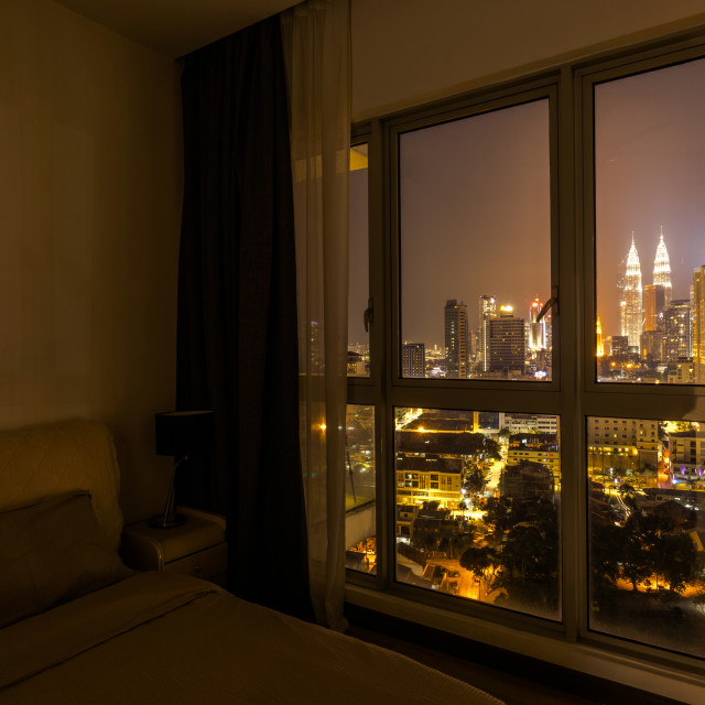 """View of Kuala Lumpur city from my room"" stock image"