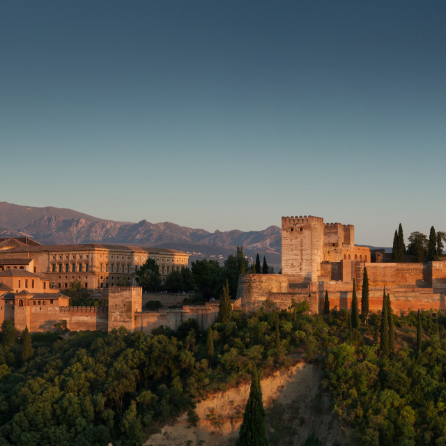 """The Alhambra of Granada at sunset."" stock image"