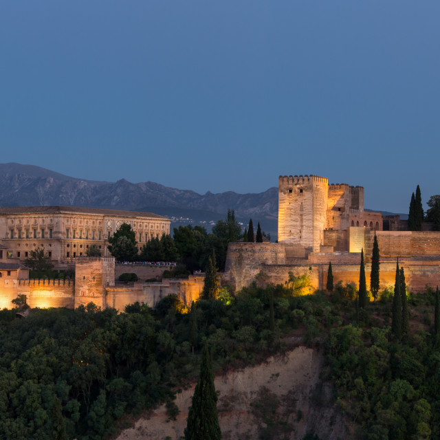 """The Alhambra of Granada at dusk."" stock image"