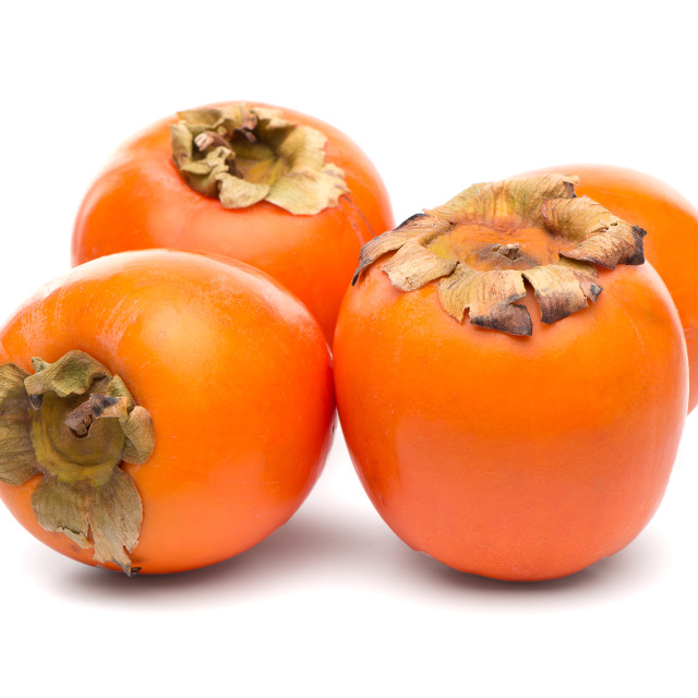 """""""Persimmon fruits on white"""" stock image"""