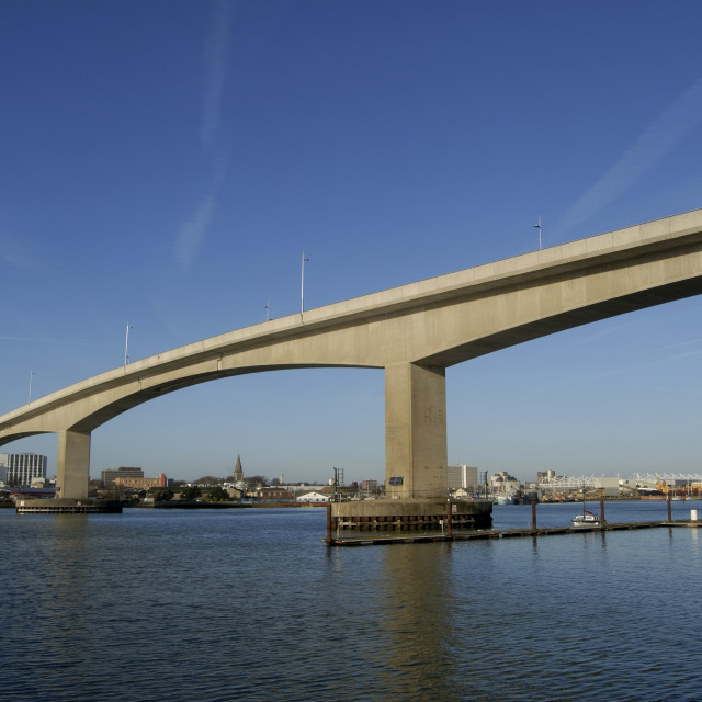 """Southampton England The Itchen Bridge spanning the river of the same name..."" stock image"