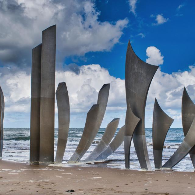 """'Les Braves' at Omaha Beach"" stock image"