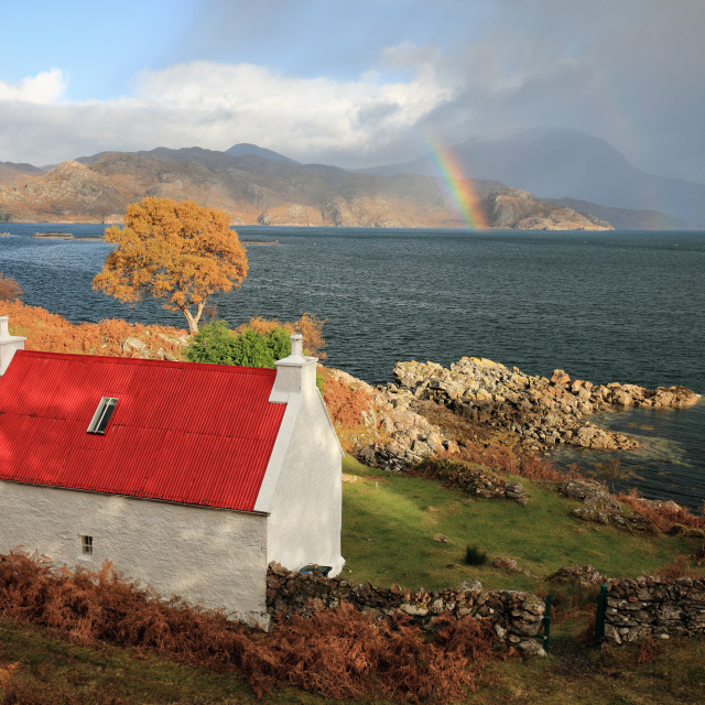 """Shieldaig Cottage"" stock image"