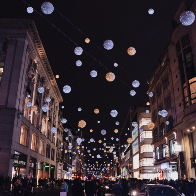 """Oxford Street Christmas lights pt 2"" stock image"