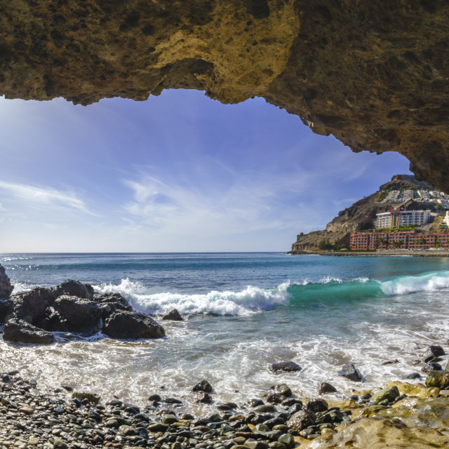 """natural rock grotto on the beach on Playa del Cura, near playa A"" stock image"