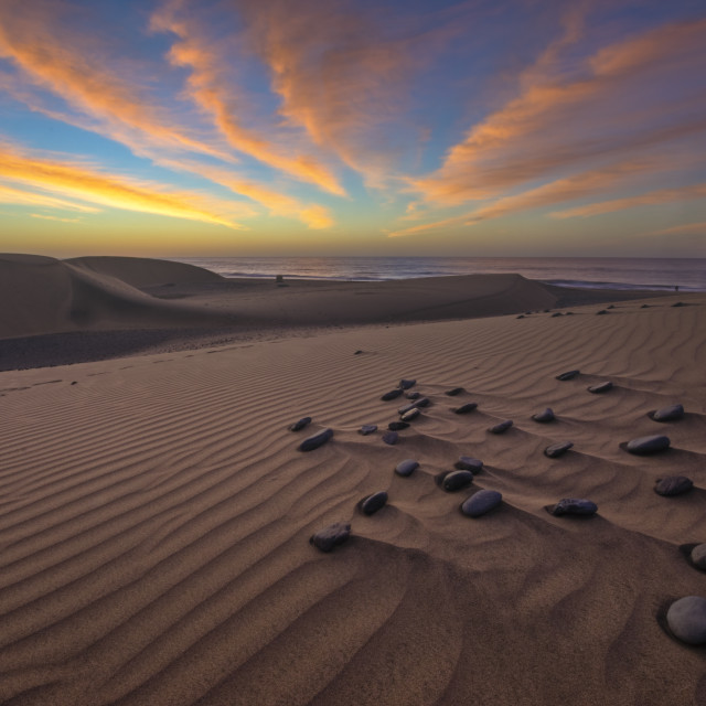 """Famous natural park Maspalomas dunes in Gran Canaria at sunrise, Canary island, Spain"" stock image"