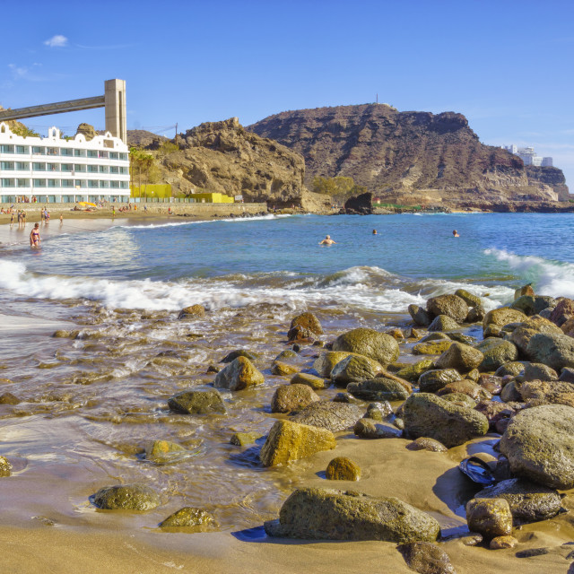 """Beautiful beach of Playa del Cura, near playa Amadores ,Puerto Rico town, Gran Canaria, Canary Islands. Spain"" stock image"