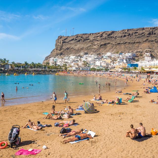 """Beautiful beach ,Puertode Mogan town, Gran Canaria, Canary Islands. Spain"" stock image"