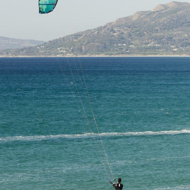 """kitesurfing at Tarifa, Spain"" stock image"