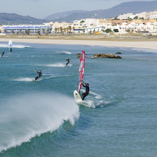 """""""kitesurfing windsurfing, at Tarifa, Spain"""" stock image"""