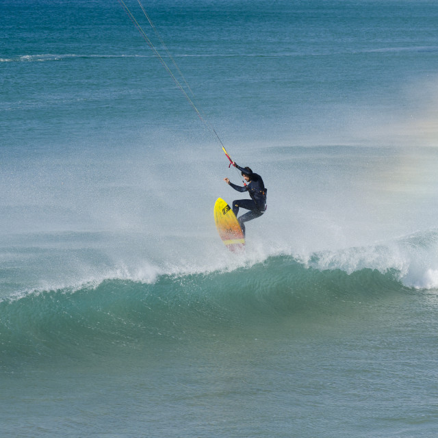 """kitesurfing jump at Tarifa, Spain"" stock image"
