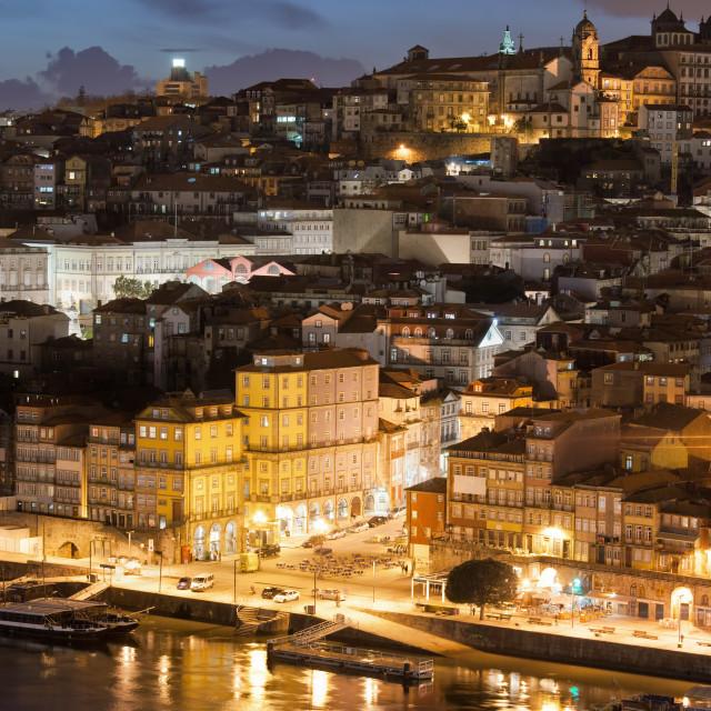 """""""City of Porto in Portugal by Night"""" stock image"""