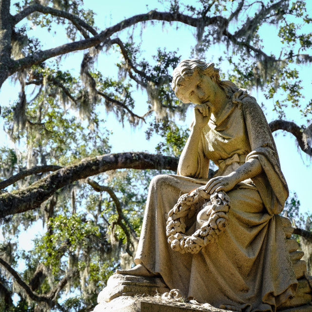 """One of many statues at the Bonaventure Cemetery in Savannah, Georgia, USA."" stock image"