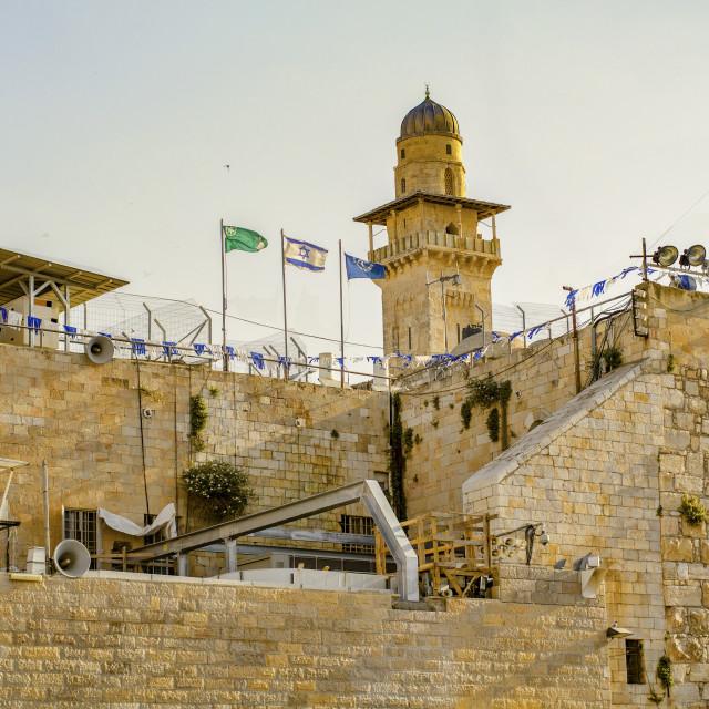 """Sunrise at the Old East-West Jerusalem Border"" stock image"