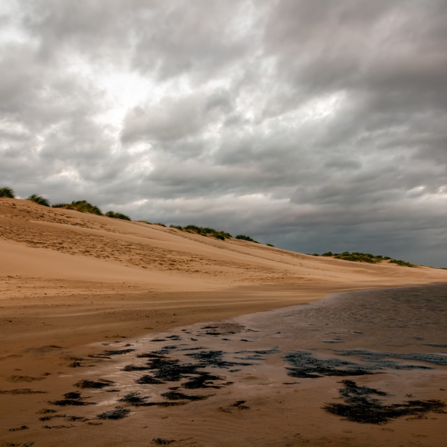 """Dusk on Wells Beach"" stock image"
