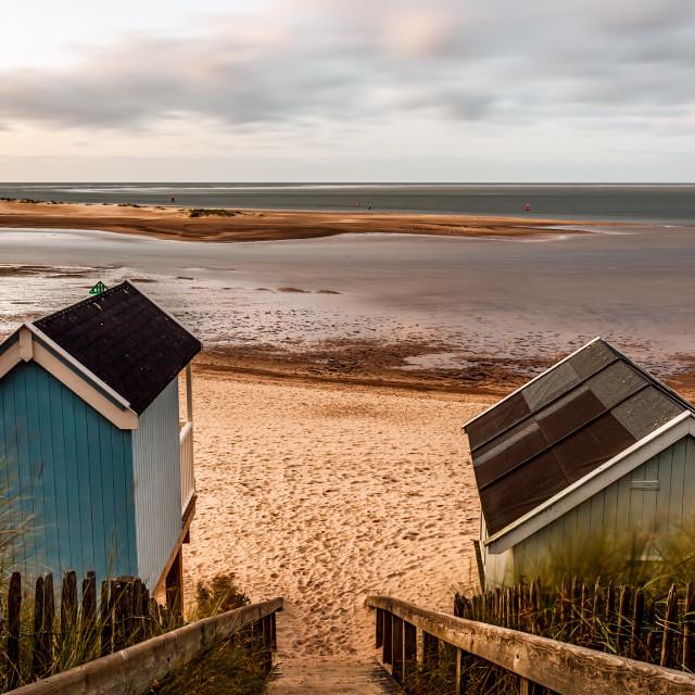 """Huts Wells Beach"" stock image"