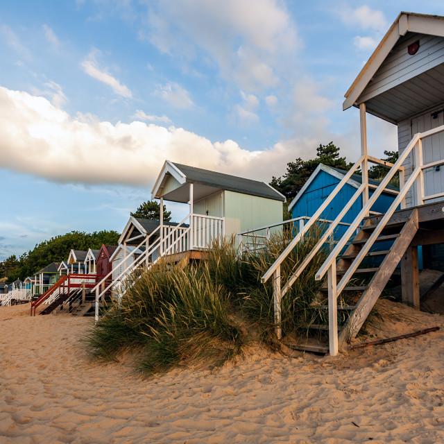 """Beach Huts at Sunset"" stock image"