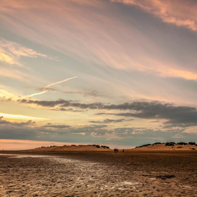 """Wells Beach Sunset"" stock image"